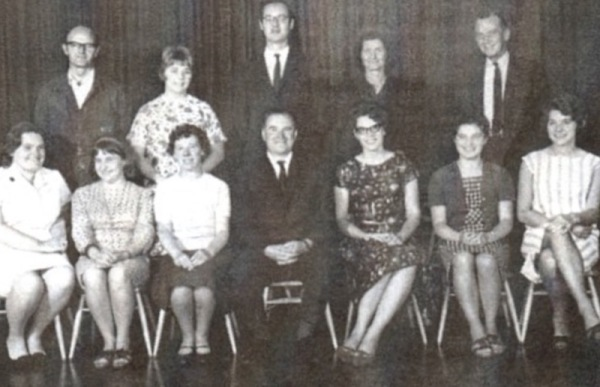 Sir John Sherbrooke teachers 1960s - Back row: ?, ?, Mr Hurst, ?, Mr Anderson Front row: ?, ?, Mrs Tatham. Mr Clifton (Head), Ms Carr, ?, ?