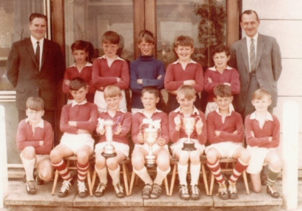Sir John Sherbrooke football team 1964/65 - Top left: Mr Clifton - Top right: Mr Anderson - Bottom row, second right: Simon Bennett.
