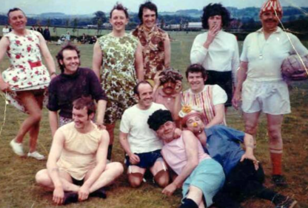 Fun match circa 1971 - Another team of women (ish)  - Standing - Left to Right: Billy Emerson, Arnold Redfern, Sid Gilliburn, Maurice Storey, Ray Mace Kneeling - Left to Right: Terry Thompson, Hughie Bell, Roy Marriott, Alan Fleetham Sitting/Lying - Left to Right: Steve Poyser, Laurie Longstaff, ?