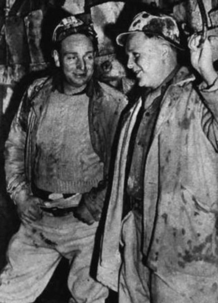 On the job - master sinker Cyril Wesson (left) and one of the chargemen (and pump-rider) Arthur Miller.