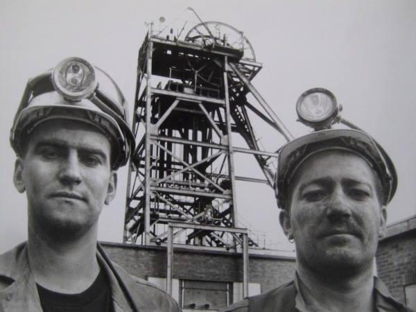 Miners on the surface during the filming of 'Into the Black'