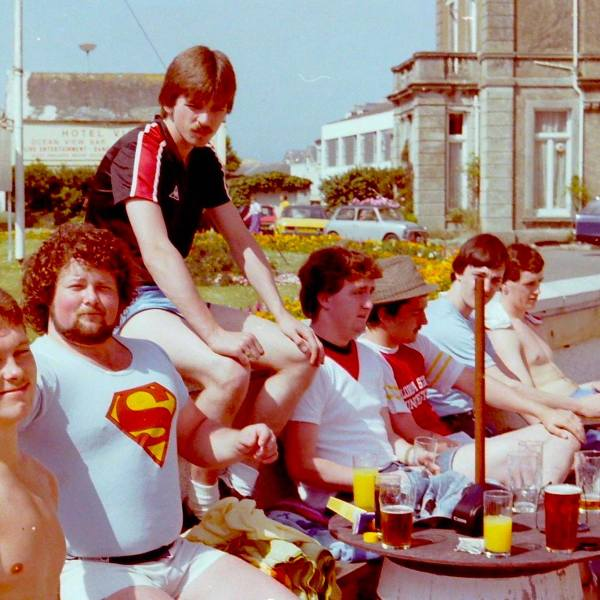 1981 July Cornwall trip - In the picture are Alistair Berry, Graham Miller, Jeff Wheat, Dave Macadam, Steven 'Boxer' Waitt. Image ©Stephen Kopryko 2017
